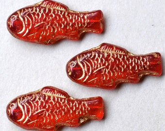 Large Fish Bead - Czech Glass Fish Beads - 28mm x 13mm -  Various Colors - Qty 4