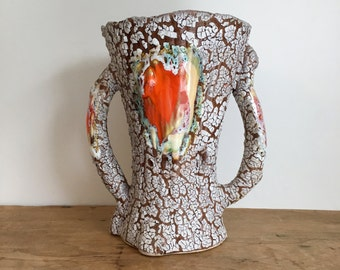 French Vintage Ceramic 'Vallauris' Inspired Vase
