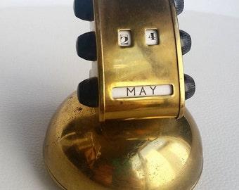 Vintage Brass Perpetual Desktop Calender, Vintage Desk Calender
