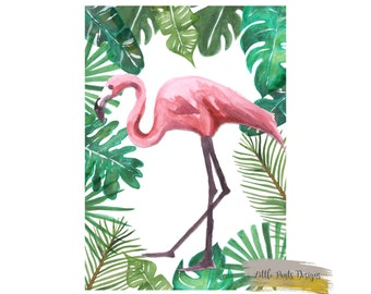 Flamingo Decor Print Nursery Pink Watercolour Tropical Girly Pretty Digital Printable