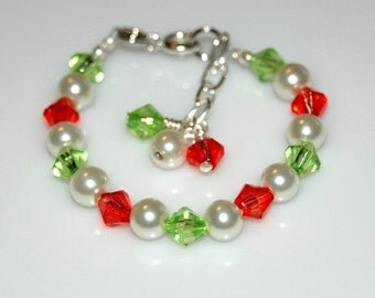 CHRISTMAS BRACELET Holiday Acrylic Crystal and Glass Pearl Bracelet for AGES Infant to Adult