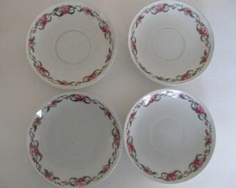 GERMANY Rose bud saucers (4)