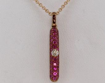 Ruby and diamond bombay long bar pave set 9ct rose gold pendant .48ct rubies .07ct diamonds