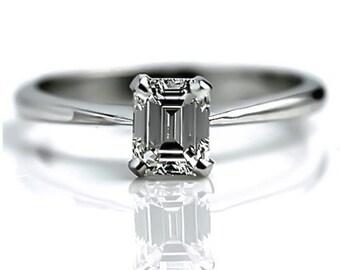 Emerald Cut Diamond Engagement Ring .62 Carat