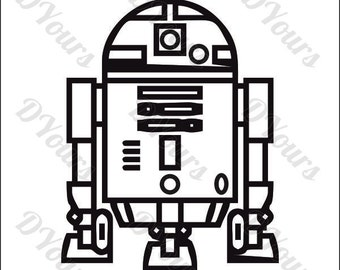R2D2 Star Wars Vector Model - svg cdr ai pdf eps files - Instant Download Files for Laser Cutting Printing CNC Cut Engraving Clipart