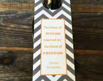 Personalized Set of 6 Wine Tags, Custom  Gray Chevron Wine Labels