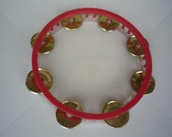 Vintage Tambourine, Plastic and Metal Round Children Tambourine 70s, Bulgarian Musical Instrument