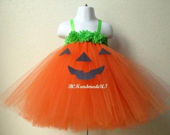 Green orange pumpkin tutu, orange pumpkin dress, pumpkin costume, halloween tutu, orange tutu, halloween pumpkin tutu, halloween costume