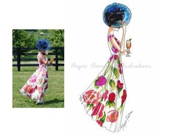 Custom Fashion Illustration, fashion bloggers custom illustration, sketchable looks custom sketch, custom illustration