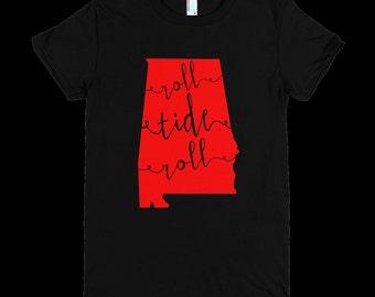 University of Alabama - Roll Tide Roll - American Apparel T-Shirt - Crimson Tide