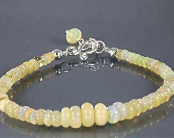 Ethiopian Welo Opal Beaded Stacking Bracelet, Opal Boho Bracelet, Opal Stacking Bracelet
