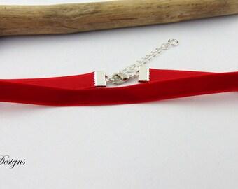 Red Choker Necklace, Velvet Cord Choker, Red Velvet Choker,  Choker Necklace, Trendy Necklace, Gifts for her