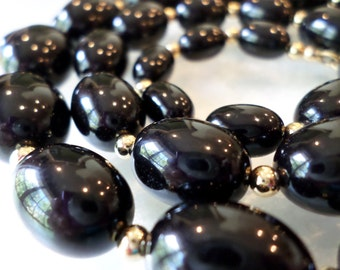 Vintage Monet Signed Graduated Black Beads Long Necklace.