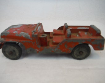 1960's Tootsie Toy Red Willy's Jeep Die Cast Red Steel - Antique, Retro, Collectible,toy