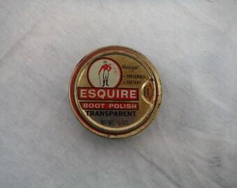 1980s - Esquire Transparent Boot Polish Tin - Antique, Vintage, Collectible, Decorum