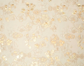 BEACON HILL  SAMURAI Bloom Floral Silk Fabric 5 Yards Ivory