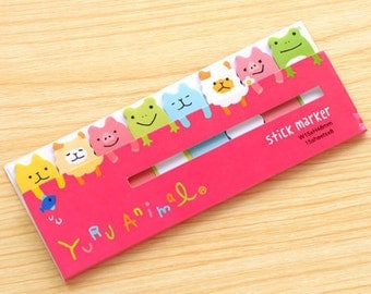Yuru Animal Sticky Notes - Cute Kawaii Post-It / Stationery / Stationary / School Supplies / Yuru Animal Stick Marker / Sticky Note Tabs
