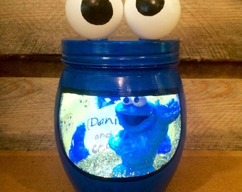 Cookie Monster night light. Cookie Monster light. Sesame Street night light. Personalized Cookie Monster LED night light