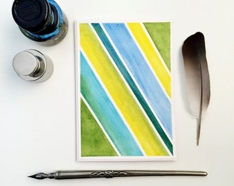 Unique Handmade Greeting Card, Blank Any Occasion Card, Stripes Male Birthday Card, Watercolour, Original Geometric Art, Ready to Frame Art
