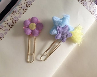 Set - Purple Flower & shooting stars handmade paperclips