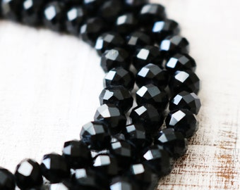 black crystal beads, faceted beads, rondelle beads, boho beads, full strand, 6mm crystal, 8mm crystal, glass beads,