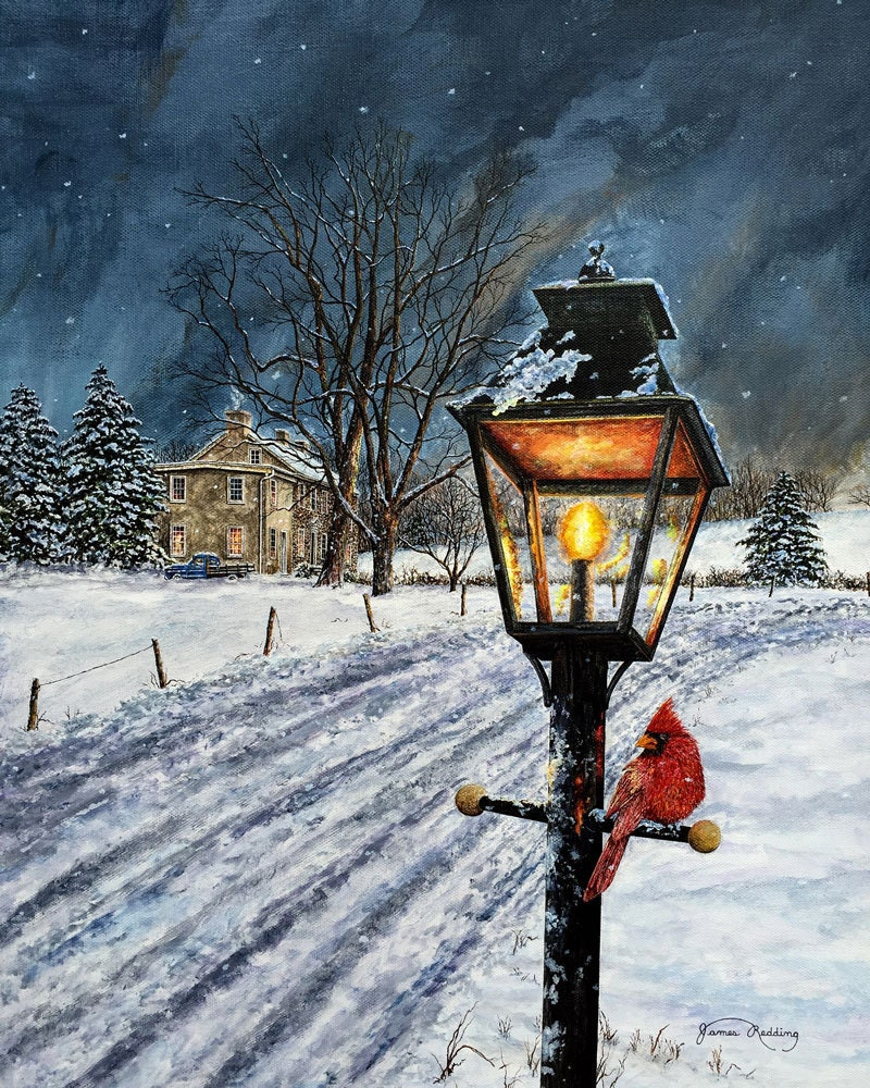 Lamppost Painting Cardinal Painting Winter Scene Snow for Lamp Post Painting  165jwn