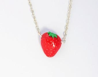 Necklace Strawberry (Polymer Clay) Handmade Fruit Jewelry Food