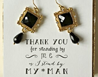 Black and Gold Earrings, Black Bridesmaid Jewelry, Black Earrings, Black Wedding Earrings, Bridesmaid Gift Earrings, Black Onyx Earring, ES1
