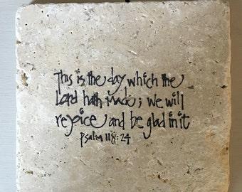 Bible verse Psalm 118:24 stone coaster set