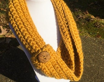 Buttoned Crochet Cowl; Goldenrod Circle Infinity Scarf