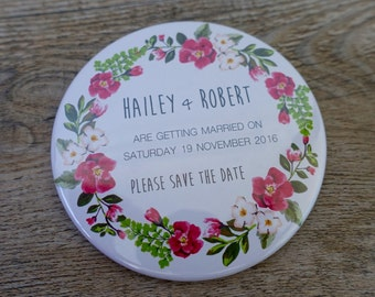Save the Date Magnets, Tribal Floral - 75mm