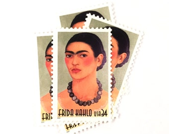 5 x Frida Kahlo UNused 34 cents US Postage Stamps - Artist - Self Portrait - Mexican - Orange - for invites, mailing, crafting, card making