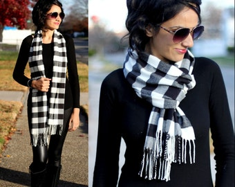 Plaid Scarf White Plaid Scarf Checkered Scarf Black and White Checkered Scarf