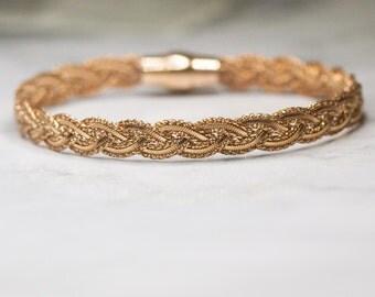 Rose Gold Sterling Silver Woven Bangle, Bracelet
