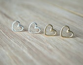 Gold heart Earrings,  gold heart studs, gold stud earrings, open heart earrings, silver heart earrings, minimalist earrings, silver studs