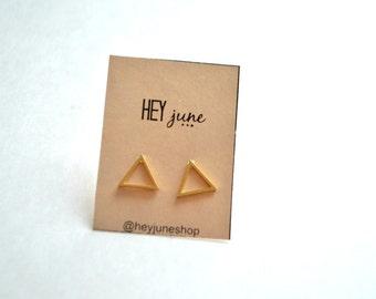 open triangle stud earrings, triangle stud earrings, gold open triangle earrings, silver open triangle earrings, minimalist earrings,