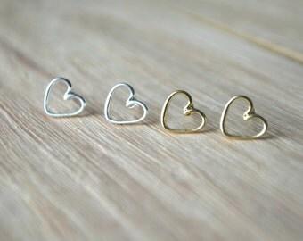 Gold heart Earrings,  gold heart studs, gold stud earrings, open heart earrings, silver heart earrings, minimalist earrings, silver studs
