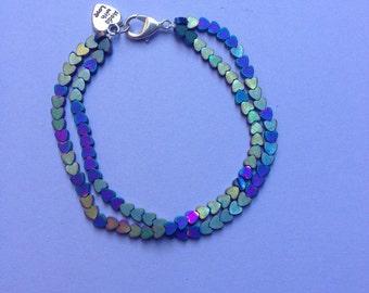 double row heart bracelet