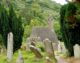 Cemetery - Saint Kevin's Church - Gleann Dá Loch - Glendalough - County Wicklow - Republic of Ireland - Ireland - Photo - Print