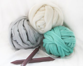 DIY KIT, 3 colors chunky knit blanket, chunky merino wool, chunky knits, Arm knitting, Chunky knits, Make your own blanket, Knitting Kit