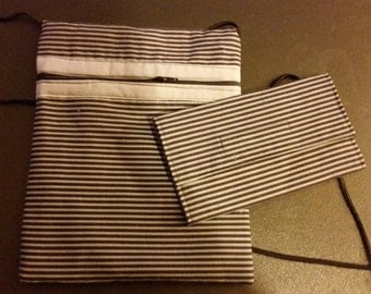 Stripe Crossbody Purse and Wallet Set