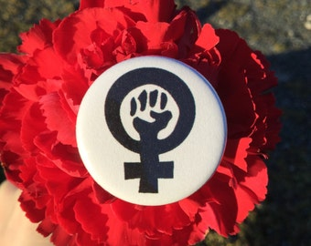 Black feminism symbol / Feminist pride fist button pin or magnet / Feminist button / Feminist accessory