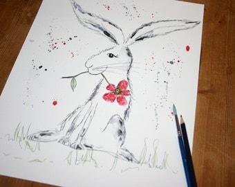 Rabbit original watercolour, rabbit painting, rabbit art, colourful rabbit art, original painting, original art, rabbit and flower