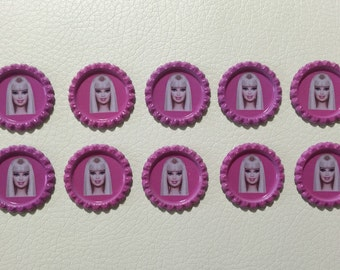 Set of 10 Barbie Bottle Caps for Hair Bow Center And Scrapbook , Barbie Finished Bottle Caps, Barbie Finished Bottle Caps