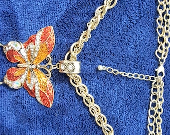 Gold Tone Dual Strand Butterfly Necklace
