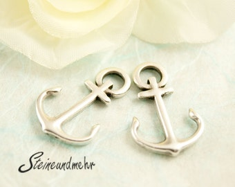 2pcs anchor silver plated charm 22mm  Art.1287