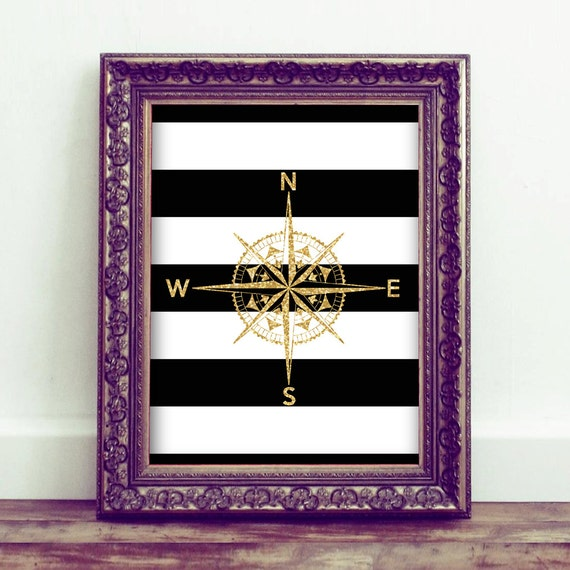 Etsy Gold Wall Decor : Items similar to golden compass black white and gold