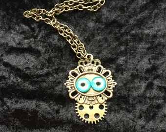 """Eye pendant, steampunk necklace on 22"""" chain."""