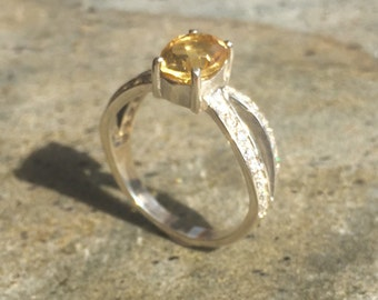 Citrine Ring, Natural Citrine, Citrine Engagement Ring, Yellow Diamond Ring, October Birthstone, Promise Ring, Solid Silver Ring,Pure Silver
