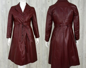 1970s Vintage Womens XL Cordovan Leather Princess Coat Trench Steampunk
